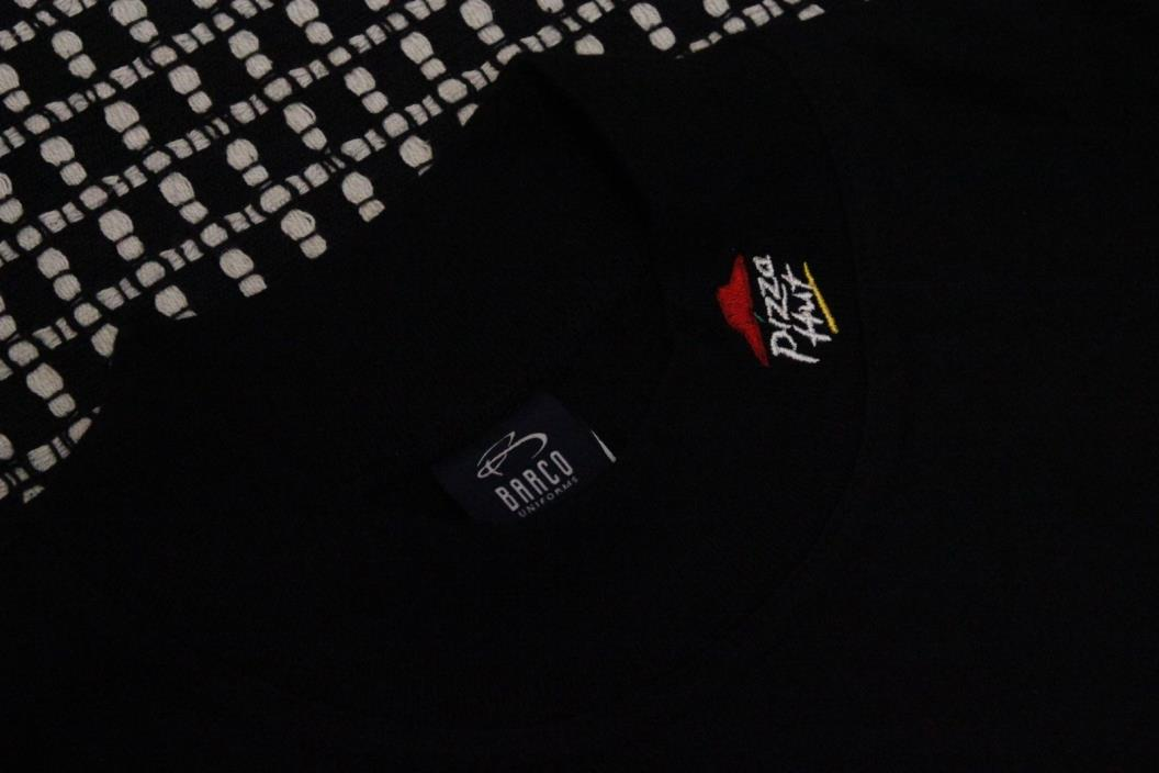 PIZZA HUT Vintage Embroidered Turtleneck Shirt Men's Size Lg Employee Black NWT