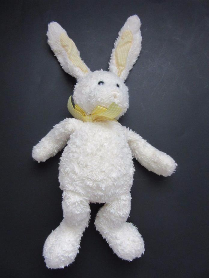 RARE Gund Plush TWEEDLES SHAGGY BUNNY EASTER YELLOW Bow 12