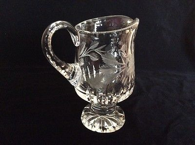 Beautiful Vintage Cut Glass Floral Etched Pitcher