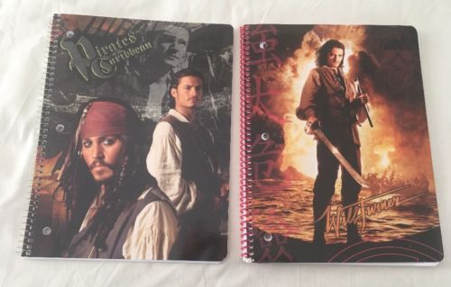 Pirates Of The Caribbean Set If (2) Single Subject Notebooks