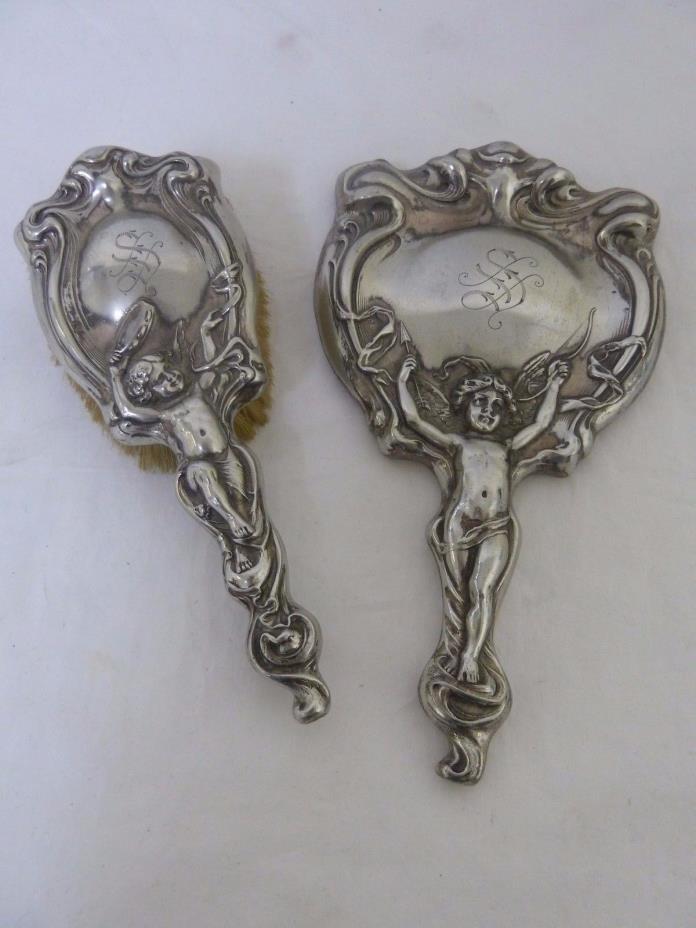 Derby Silver Co. Antique Vintage Vanity Hand Mirror & Hair Brush Set