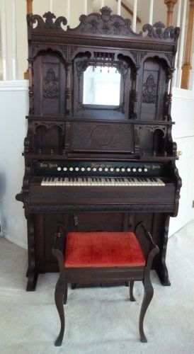 Vintage Needham Parlor Pump Organ (1848-1905) with Bench