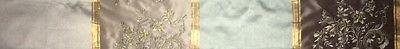 DESIGNERS GUILD Emmeline Adelphi Blue Gold Taupe Stripe Silk India Remnant New