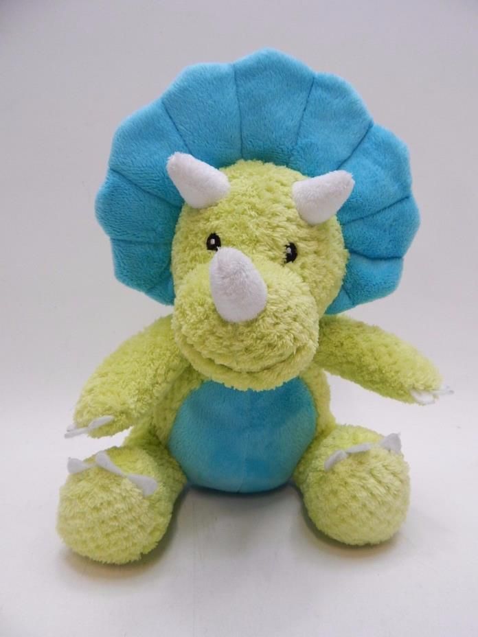 Baby Aspen Tricera-socks Dinosaur Dino Triceratops Plush Green Teal SOFT
