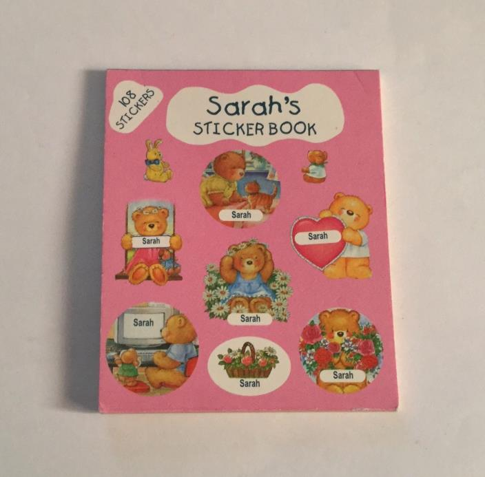 108 Stickers - Book of Stickers - SARAH Name Personalized - Teddy Bears Flowers