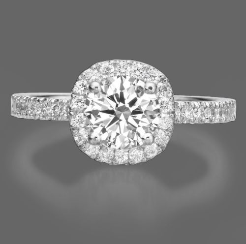 1.50 CT ROUND CUT DIAMOND ENGAGEMENT RING ENHANCED D/VS 18k WHITE GOLD