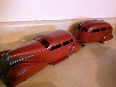 1930's VINTAGE WYANDOTTE TOY CAR & CAMPER~COMPLETE SET IN NICE VINTAGE CONDITION