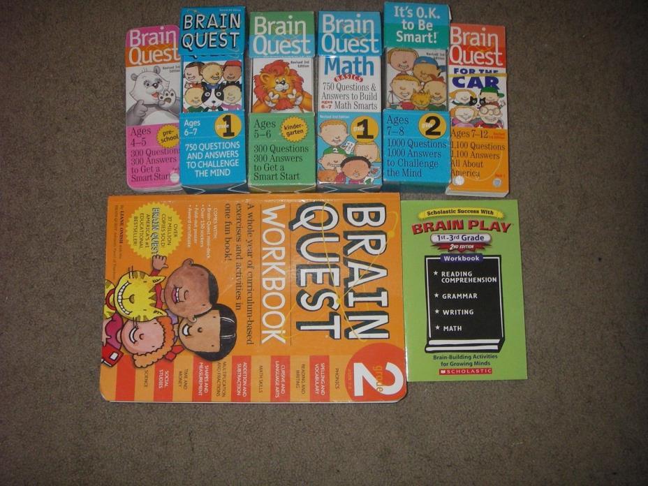 13 Brain Quest Workbooks and Decks Play Book Grades PS 1 2 3 Math Homeschool Set