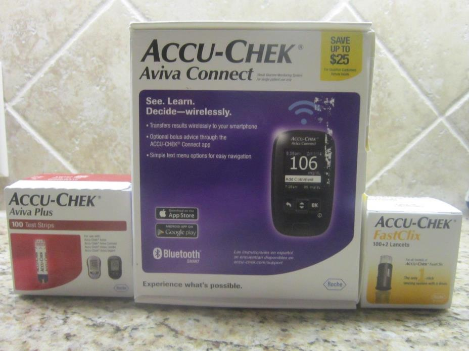NEW SEALED ACCU-CHEK AVIVA CONNECT SYSTEM 100 TEST STRIPS FASTCLIX 100+2 LANCETS