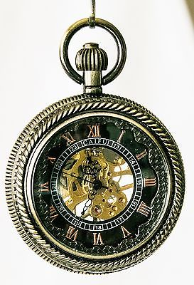 Mechanical Pocket Watch Steampunk Skeleton - Large - Free Shipping