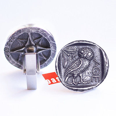 NYC Art Jewelry Studio Designer Athena's Owl Tetradrachm Coin Cufflinks No-7767