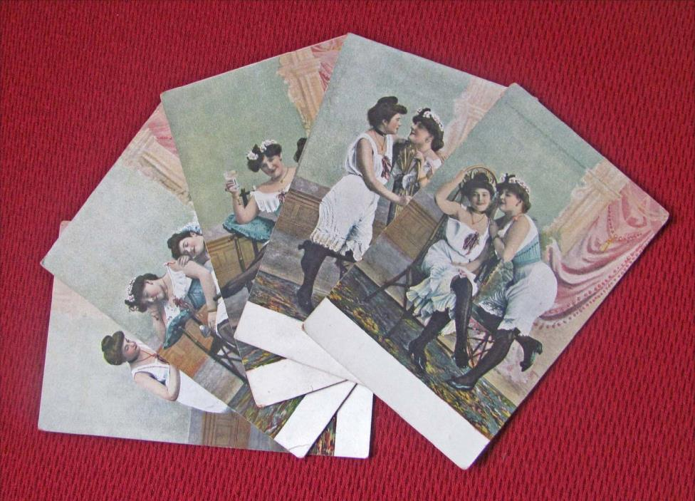 5 CIRCA 1910 COLOR WOMEN IN UNDERGARMENTS RISQUE UNPOSTED GERMAN POSTCARDS