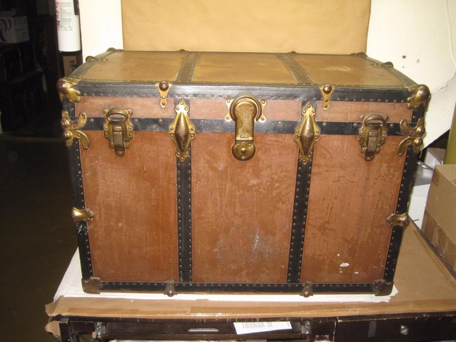 Antique Trunk Basswood & Covered With Hard Vulcanized Fibre Oak & Metal Hardware