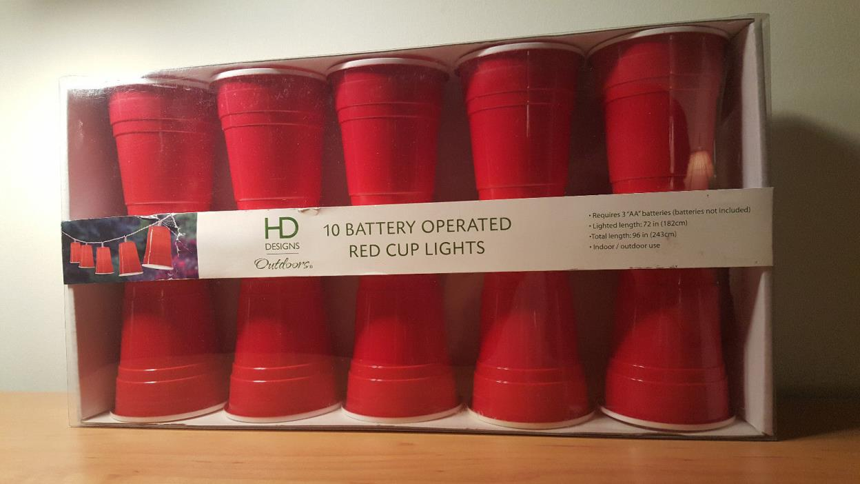 HD Design Outdoors 10 Battery Operated Red Solo Cup String Lights NIB