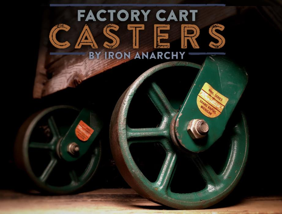 Vtg FACTORY CART CASTERS, Antique Metal Industrial Coffee Table Cast Iron Wheels
