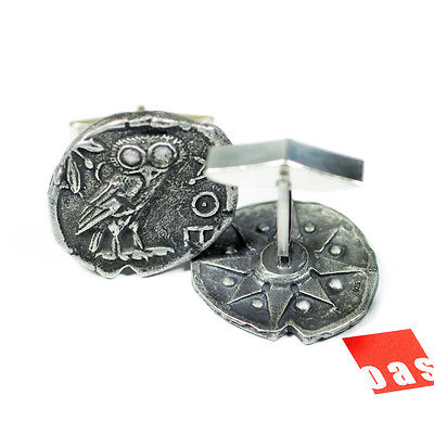 NYC Art Jewelry Studio Designer Athena's Owl Tetradrachm Coin Cufflinks