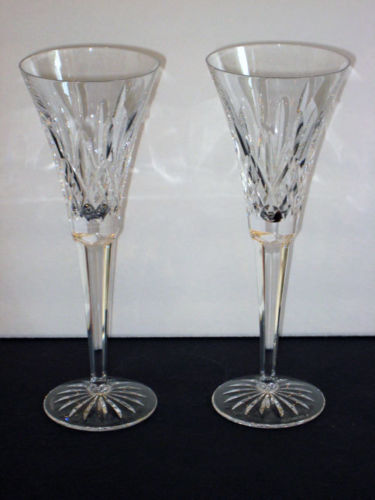 Waterford LISMORE TOASTING FLUTES Pair -- NEW