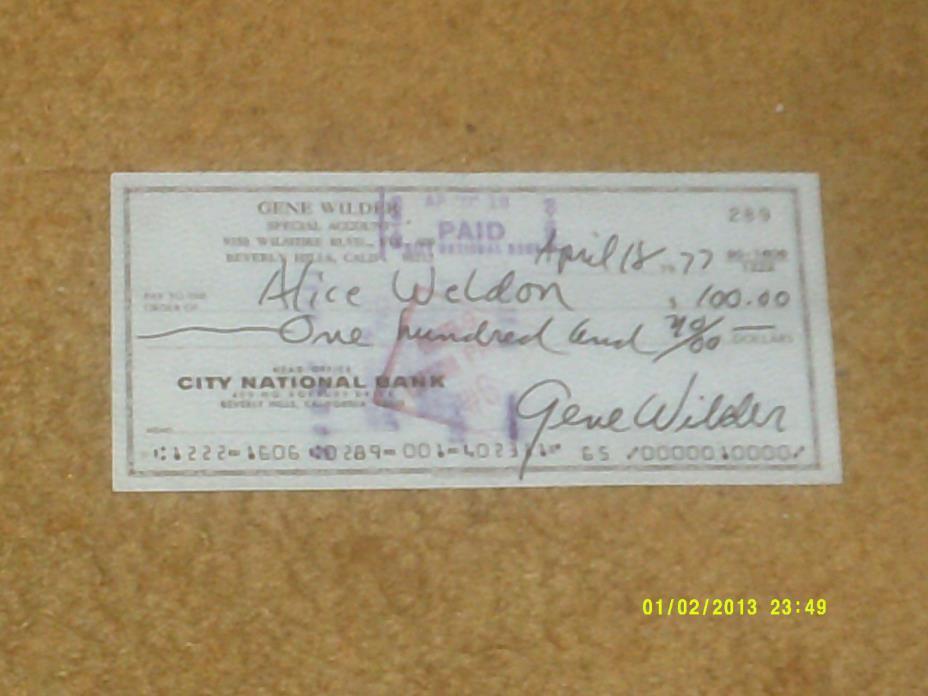 Gene Wilder signed check from 1977 (VG+ shape)
