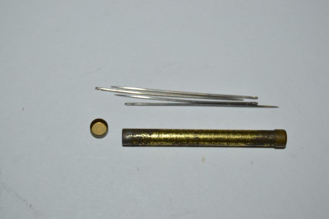 Vintage Metal Tube WWII Era Miniature Mini Pocket Sewing Kit Rare
