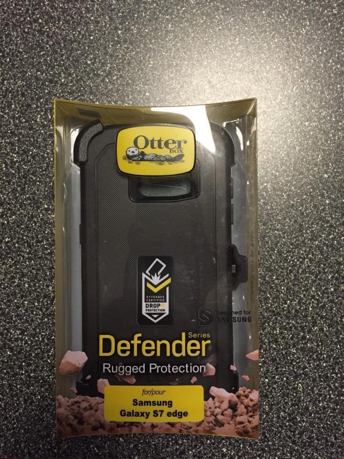 NEW OtterBox Defender Case & Holster belt clip for Samsung S7 Edge Black ---