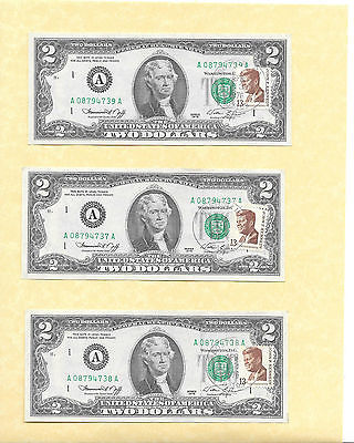 $2 Dollar Bills- 1976 Boston Postmarked 3 Consecutive Uncirculated