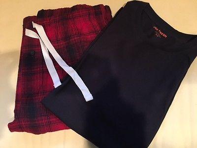 Joe Fresh Mens Pjs*Black ShortSleeveTop with Red/ Black Long Pants  S/P