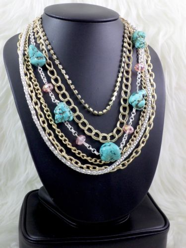 Gorgeous Gold And Turquoise Multi Chain Layered Choker Bib Statement Necklace