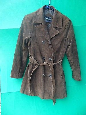 WOMENS COAT Outbrook Small 4/6 Brown Long Leather Shell Button Belt