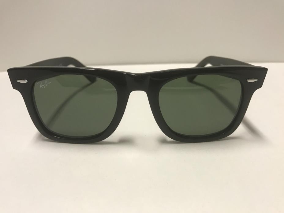 Ray-Ban RB2140 901 Wayfarer Sunglasses Black Frame Green Lenses 50mm Unisex