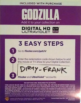 Godzilla (2014) Digital UV Ultraviolet HD Code
