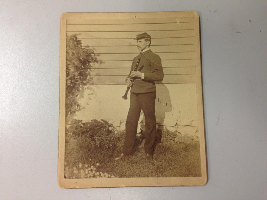 Antique Music Photograph - Clarinetist in Civil War Uniform