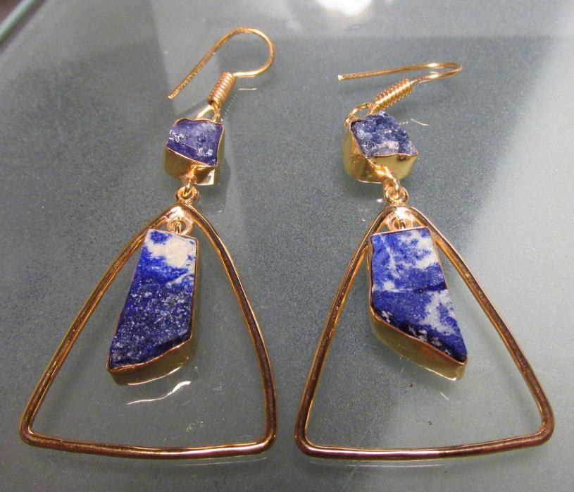 Gold plated brass rough lapis lazuli & tanzanite earrings.