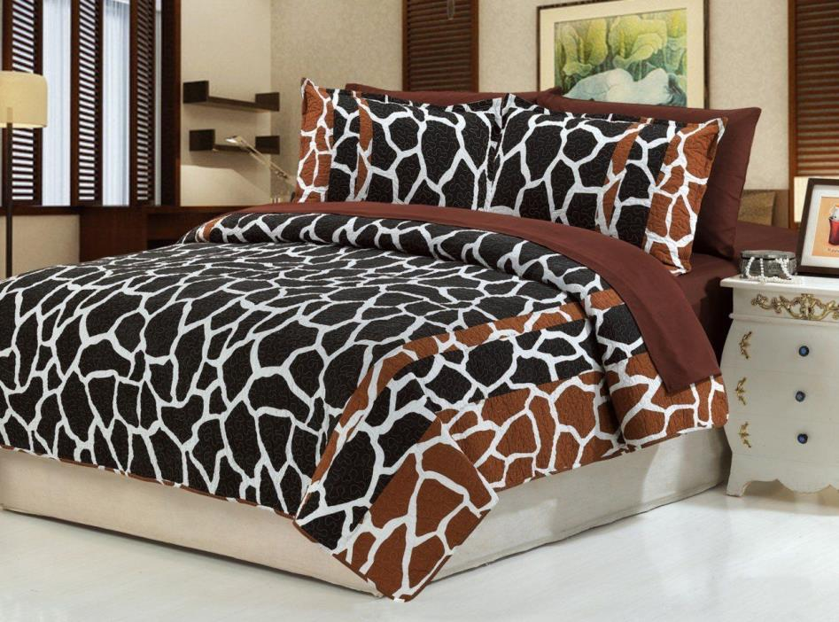 Dovedote Cotton Brown Black Giraffe Animal Print with Brown Sheet Set,Queen size
