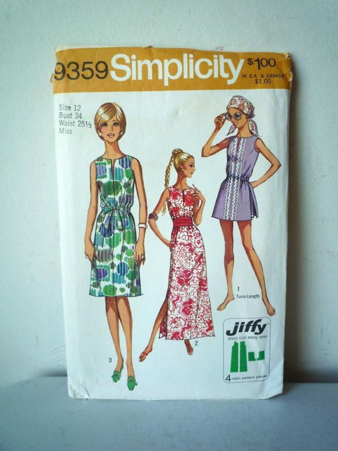 70s Misses & Petites Dress Tunic Simplicity Sewing Pattern 9359 Size 12 Uncut