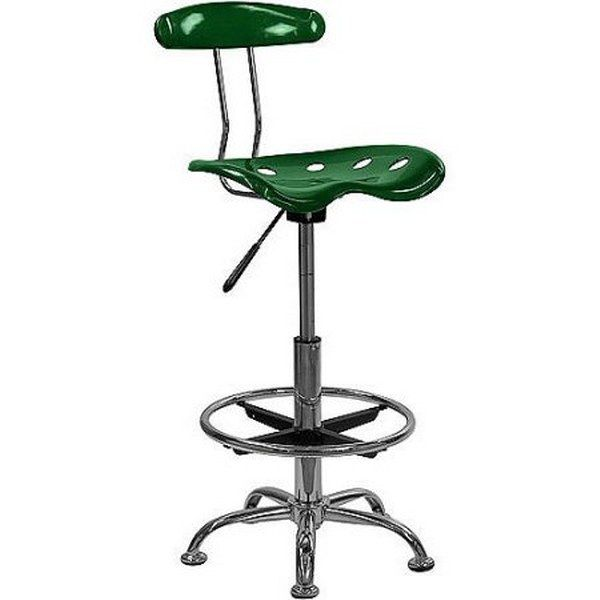 Office Drafting Stool Low Back Adjustable Tractor Seat Swivel Bar Work Green NEW