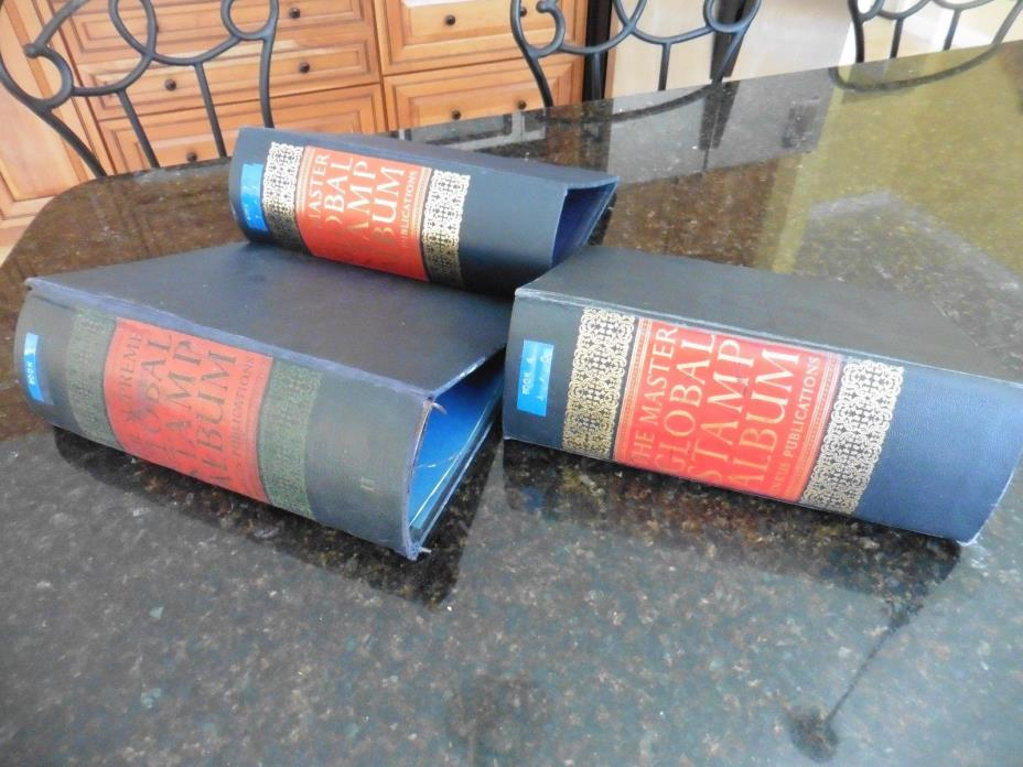 Lot of 3 Vintage The Minkus Supreme & Master Global Stamp Album binders USED