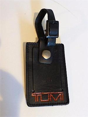 TUMI ALPHA BLACK LEATHER LUGGAGE TAG-Very Good Condition