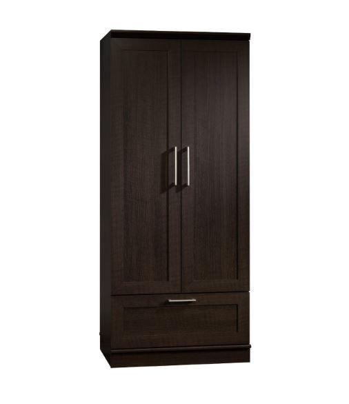 Sauder Homeplus Storage Wardrobe Cabinet in Dakota Oak Finish with Garment Rod
