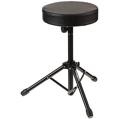 Foldable Tripod Drum Throne Chair Padded Seat Double-Braced Adjustable Black