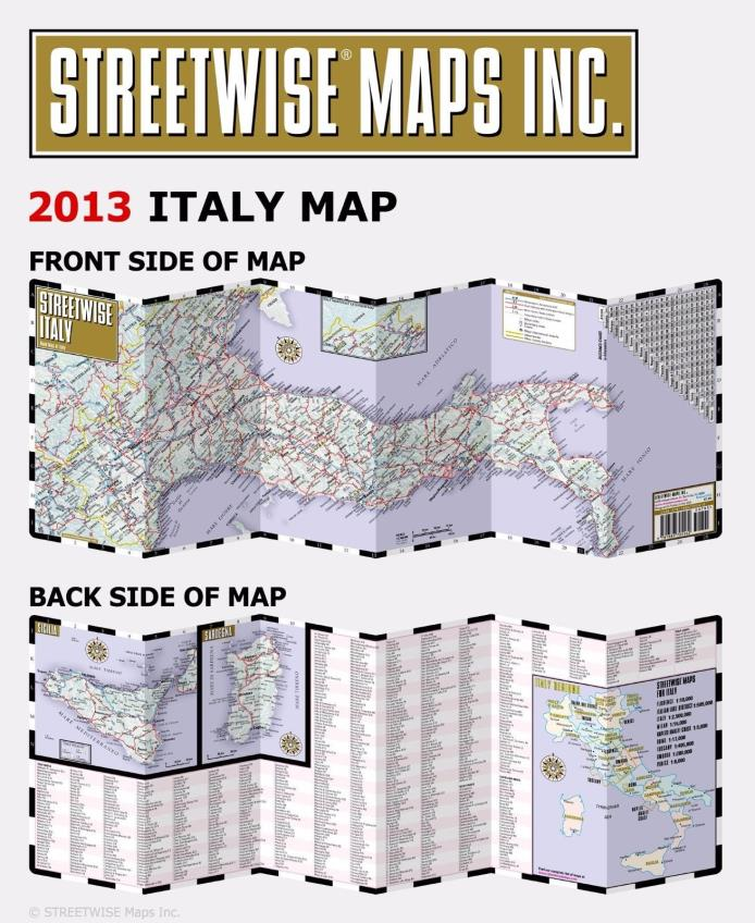 Streetwise Italy Map - Folding Laminated Country Road Map - English