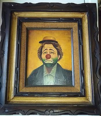 Framed Oil Painting Clown signed Jasper , great frame made in Mexico 18 X 16