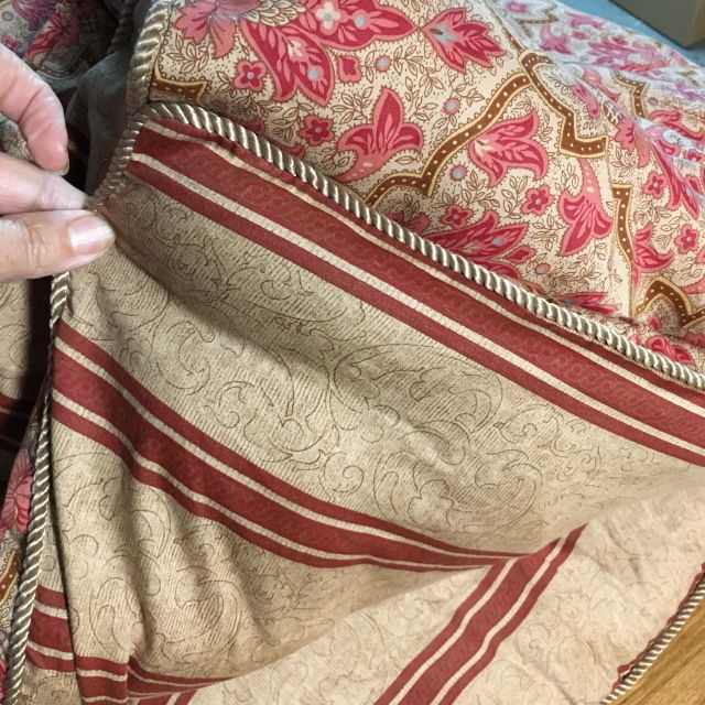 RALPH LAUREN Full/Queen Comforter BERTRAND STRIPE/LANGHAM Sateen Tan F/Q