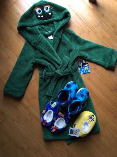 Joe Boxer Child's Robe Lot Green Slippers 3T