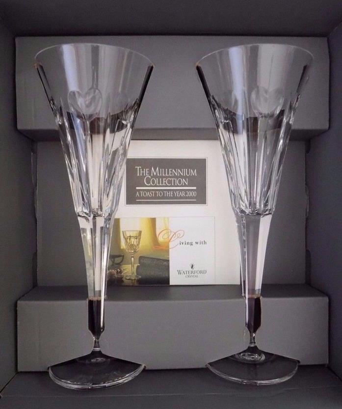 2 - Waterford Crystal Millennium Collection LOVE Heart Champagne Flutes Glasses
