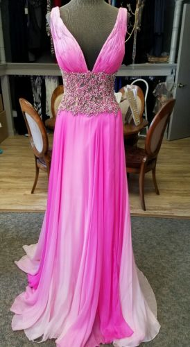 REDUCED!!!  Pink Jovani Couture Gown, size 4, NEW, gorgeous beadwork