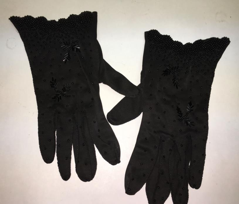 1950's BLACK BEADED DRESS GLOVES- ALL HAND STITCHED