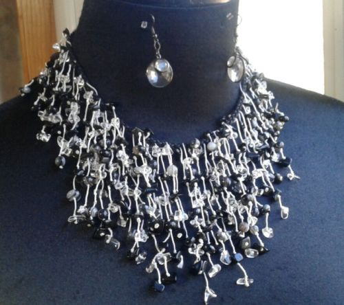 Statement Necklace & Earring Set Beaded Black, White, and Clear w/ Ropes EUC
