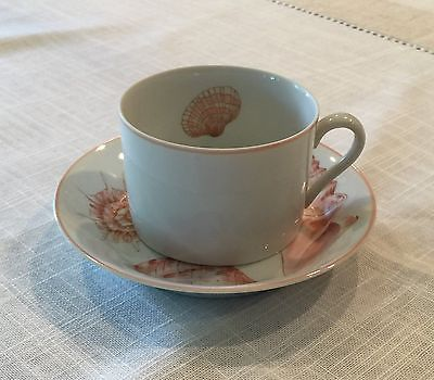 Fitz and Floyd China Coquille, Tea Cups and Saucers (set of 4)
