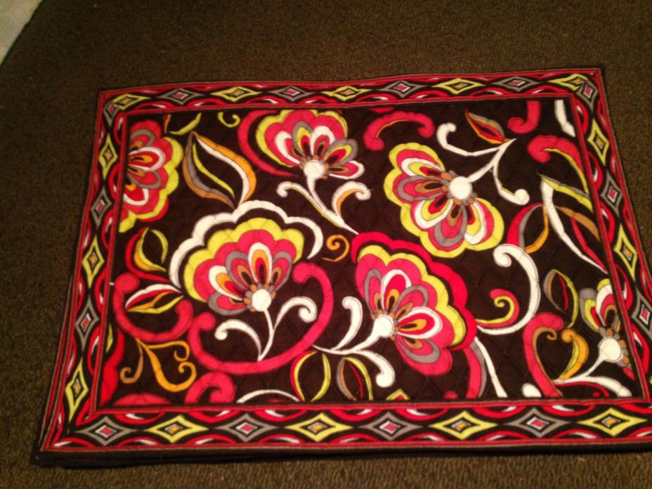 Se/t4 new Bold Floral Chocolate Brown VERA BRADLEY PUCCINI  Reversible Placemats