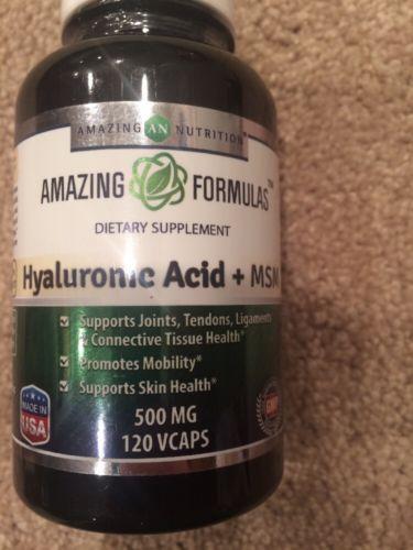 Amazing Nutrition Amazing Formulas Hyaluronic Acid + MSM 500mg 120 VCapsules